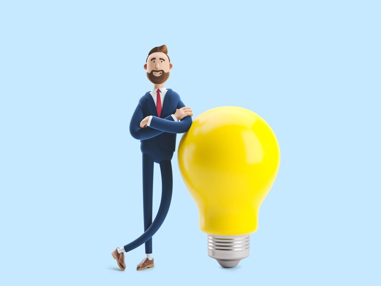 Ilustração de um homem de negócios encostado em uma lâmpada gigante