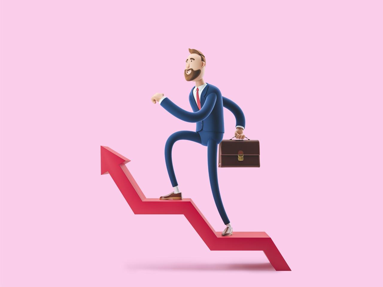 Ilustração de um homem de negócios subindo uma escada em forma de gráfico seta